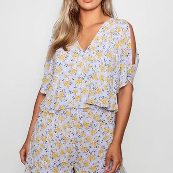Plus Demi Woven Floral Layered Playsuit | Boohoo
