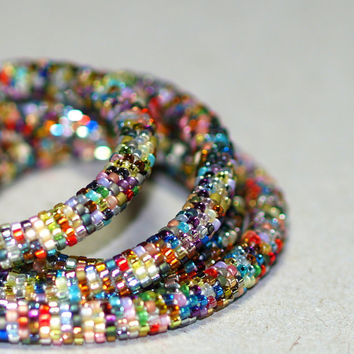 Aberash ... Bead Crochet Rope . Necklace . Bracelet . Metallic . Colorful . Intricate . Bold . Industrial Chic . Multi Color . Versatile