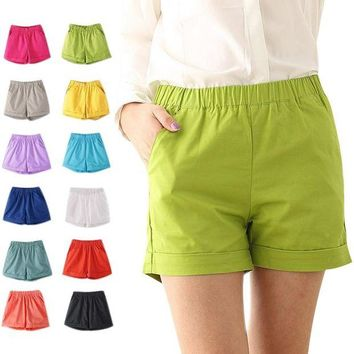 VONE05WA Fashion Summer Women Cotton Shorts Casual Elastic Waist Candy Solid Color Short Pants FS99