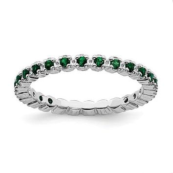 Sterling Silver Stackable Expressions Emerald Eternity Ring