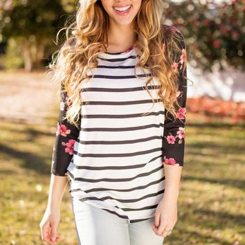 Floral Must Have Striped Floral Baseball Tee