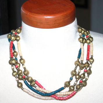 Tribal Necklace, Native American Jewelry, Heishi, Beaded Necklace, Brass Necklace
