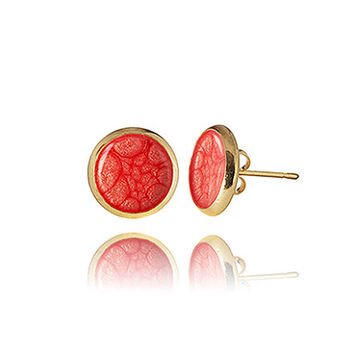 Red gold earrings Stud Earrings Small everyday jewelry Coral inspiration Prom Athletic Scarlet sails style Gift for her Ruby stone in gold