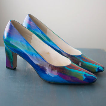 Vintage 80s Abstract Rainbow Holographic Heels - 7.5