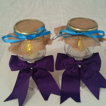 Burlap purple teal wedding candle jar / center piece set. Any color to match your wedding