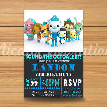 Octonauts Chalk Design Invitation - Digital File