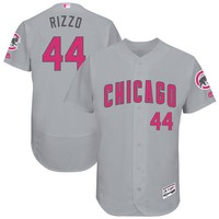 Men's Chicago Cubs Anthony Rizzo Majestic Gray Mother's Day Flex Base Jersey
