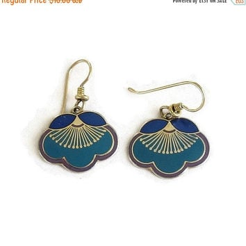 Laurel Burch Blue & Purple Enamel Earrings Vintage Dangle