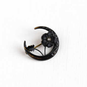 Antique Victorian Crescent Moon Flower Black Enamel & Simulated Seed Pearl Brooch - Vintage 1890s Mourning Remembrance Unique Jewelry Pin