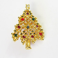 Christmas Tree Brooch Intricate Dimensional Detail Rhinestones On Gold Tone Metal Vintage Collectible Gift Item 2338