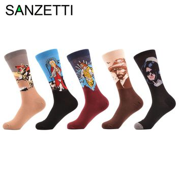 SANZETTI 5 pairs/lot Men's Casual Combed Cotton Socks Napoleon Jesus Oil Painting Crew Socks Colorful Funny Winter Happy Socks