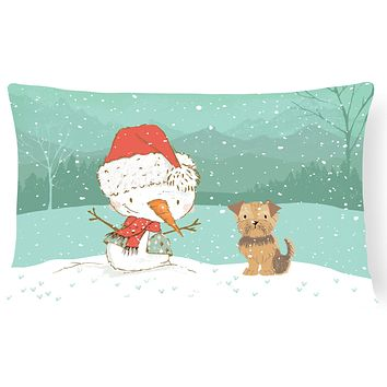 Yorkie Natural Ears Snowman Christmas Canvas Fabric Decorative Pillow CK2099PW1216