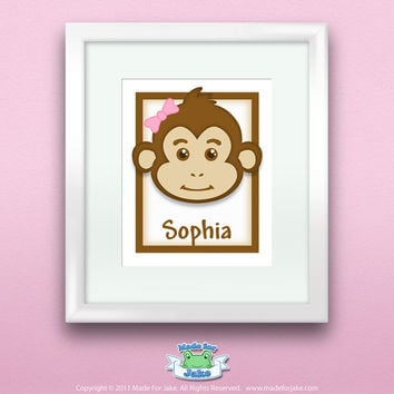 Personalized Children or Baby Monkey Print Customize with Name Wall Art Decor for Nursery 8x10