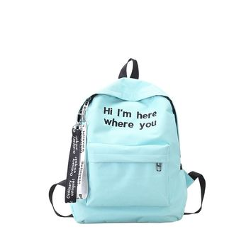Slogan Ribbon Embroidered Backpack Blue