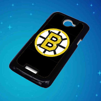 Boston Bruins Glitter For HTC One X Case ***