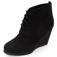 Black Lace Up Wedged Ankle Boots