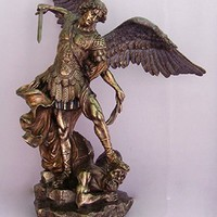 RELIGIOUS STATUE, St. Michael, Cold-Cast Bronze, Lightly Hand-Painted, 29inches