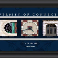 Campus Letter Art University of Connecticut (UCONN) Personalized Framed