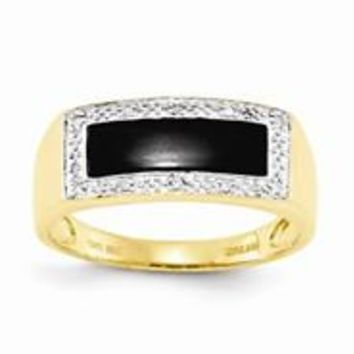 14k Yellow Gold Onyx & Diamond Mens Ring