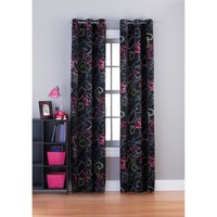 Your Zone Scribble Hearts Room Darkening Grommet Girls Bedroom Curtains - Walmart.com