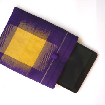 Purple and yellow iPad mini case / kindle cover with Japanese vintage silk kimono, Ikat fabric & flower embroidery