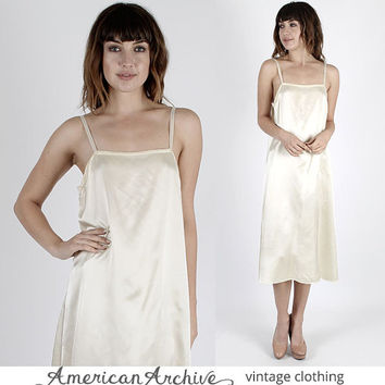 Gunne Sax Dress Satin Slip Nightgown Wedding Dress Bridesmaids Dress Vintage 70s Boho Wedding Ivory Satin Slip Hippie Midi Mini M