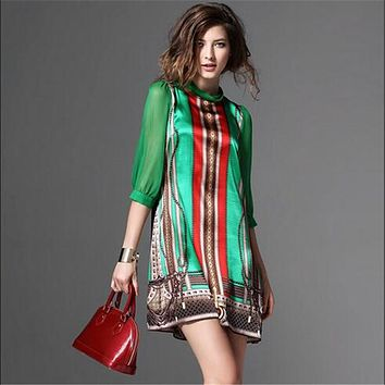 European Style Summer Dress Women 2016 New Fashion Elegant Vintage Pattern Green Print Dresses For Lady Plus Size Clothing G2519