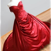 Red Wedding Dress Ball Gown Style with Pleats and Crystal Beading Irish or Scottish Wedding , Custom Made in your size