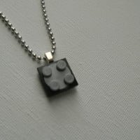 Movable Black and Grey Square Lego Pendant by LoopyLoopCreations