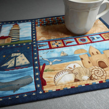 Lighthouse Nautical Mug Rug, Quilted debbie mumm, red white blue handmade place mat, lighthouse home, patriotic mini quilt, quilted placemat