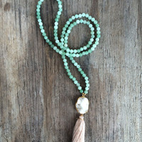 Long Beaded Tassel Agate Druzy Necklace with White Druzy Drusy Geode Pendant and Light Pastel Green Beads