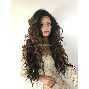 Balayage Messy Waves Human Hair Blend Multi Parting Lace Front Wig - Tennessee