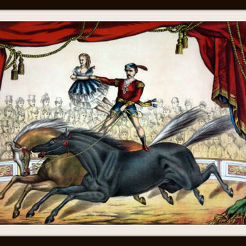 Vintage Poster Art Poster  Circus Acrobat on Horse 8.5 x 11""