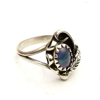 Petite Vintage Blue Paua Shell Mother Of Pearl Child Sterling Silver Toe or Knuckle Ring, Size 2.5 (V-430)