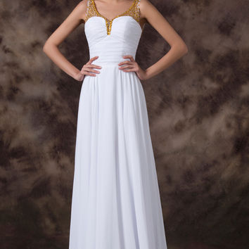 White V-Neck Goldern Mesh Beads Backless Maxi Dress