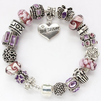 European charm bracelet Big Sister or Little Sister charms Murano glass beads purple butterfly gift for sister Big Sis Lil Sis