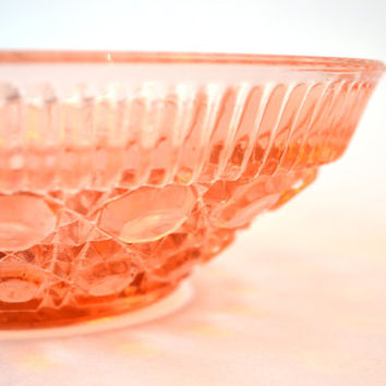Vintage 1930s Pink Depression Glass Bowl Shabby Cottage Chic