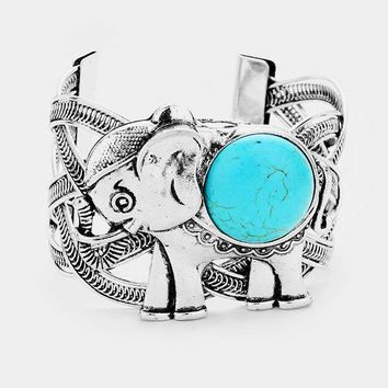 Round Turquoise Detail Metal Elephant Cuff Bracelet