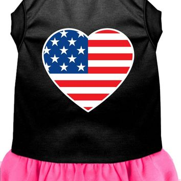 American Flag Heart Screen Print Dress Black With Bright Pink Lg (14) large