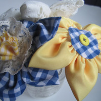 Rustic fabric flower daisy bouquet home decor gift cheer up flowers Sunny yellow blue gingham white lace