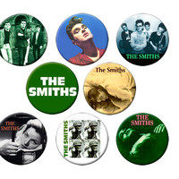 8 Smiths Badges - Pack of 8 Small 1.25 inch Pin Back Buttons - The Smiths with Morrissey - 8 Small Pins