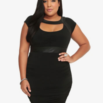 Faux leather Ruched Bodycon Dress