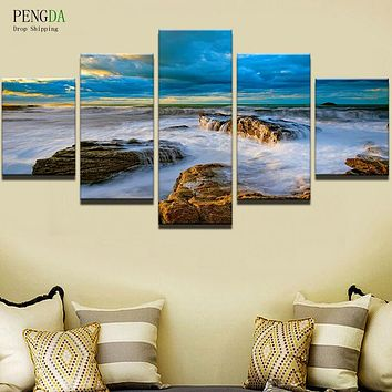 PENGDA 5 Panel Sea Landscape Modern Frames Decor Paintings Printed On Canvas Wall Picture Modern Decorative Canvas Art Prints