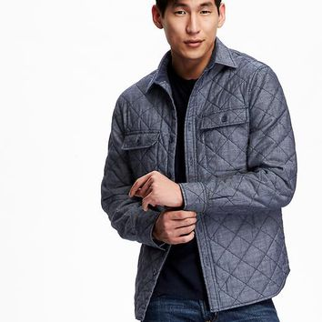Old Navy Mens Quilted Chambray Jacket