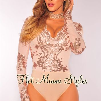 Nude Rose Gold Sequins Long Sleeves Bodysuit