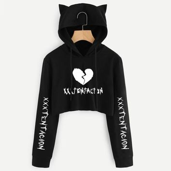 Drop ship xxxtentacion crop top hoodies BTS Harajuku Short Sweatshirt Long Sleeve Cropped Ladies Sexy Navel Cat Ear Hoodie