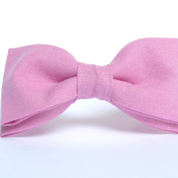 Men's Pink Linen Bow Tie by BartekDesign: soft pink sweet candy grooms wedding pre tied