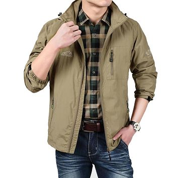 Men Bomber Jacket Army Soft Shell Jacket Windbreaker Breathable Raincoat