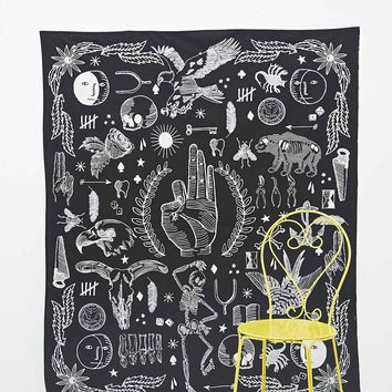 Tattooed Icons Tapestry Throw in Black - Urban Outfitters