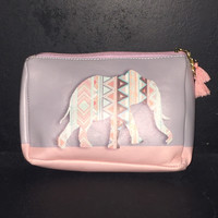 Gray and Pink Cosmetic Bag with Tribal Elephant
